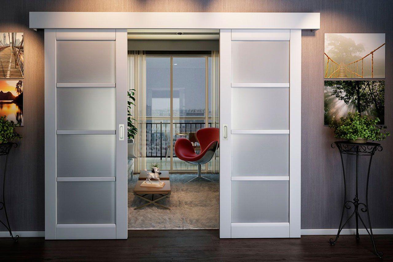 أشكال أبواب جرارة داخل المنزل ـ باب جرار خشب أبيض