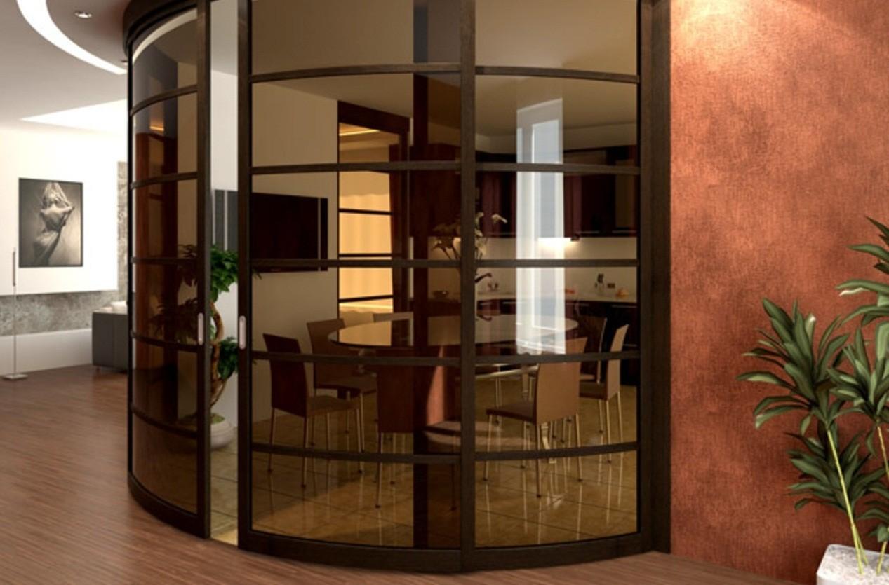 أشكال أبواب جرارة داخل المنزل ـ باب جرار نصف دائري كبير