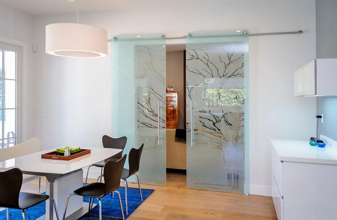 أشكال أبواب جرارة داخل المنزل ـ باب جرار زجاج