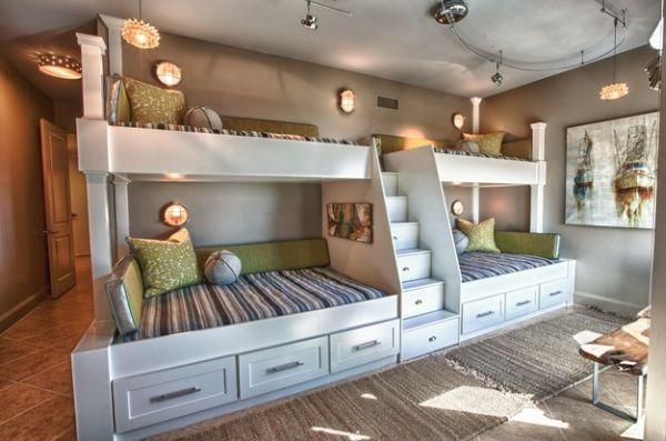 أشكال غرف أطفال دورين ـ غرفة أطفال بأربع أسرة