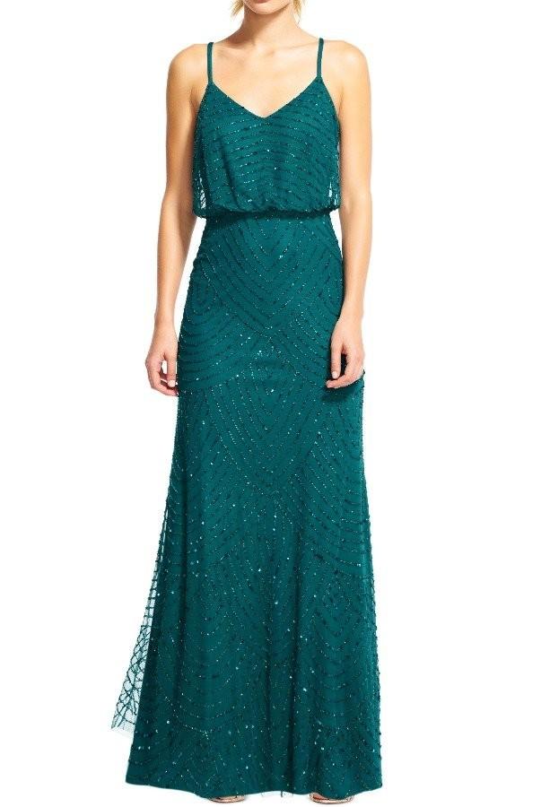 فستان سواريه باللون الجنزاري ـ فستان واسع من أعلى