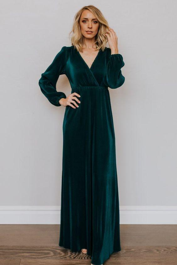 فستان سواريه باللون الجنزاري ـ فستان قطيفة