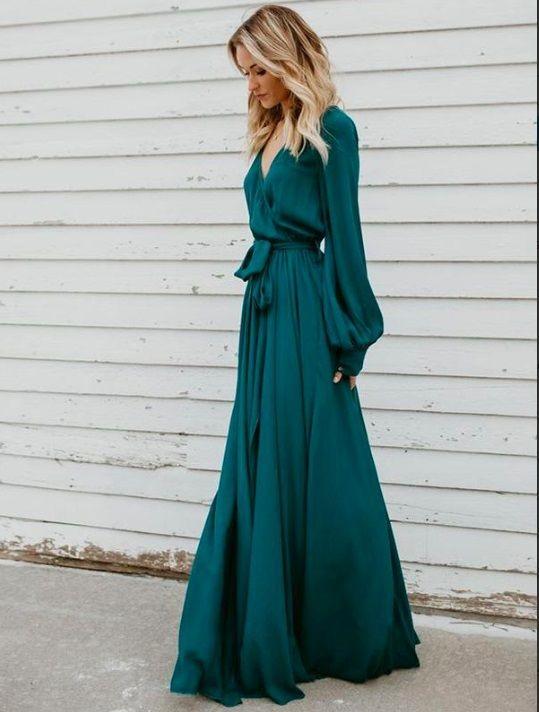 فستان سواريه باللون الجنزاري ـ واسع وطويل