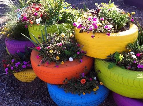 إعادة تدوير الإطارات - حاويات زرع