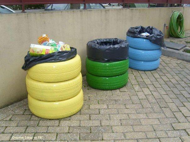 إعادة تدوير الإطارات - صناديق قمامة