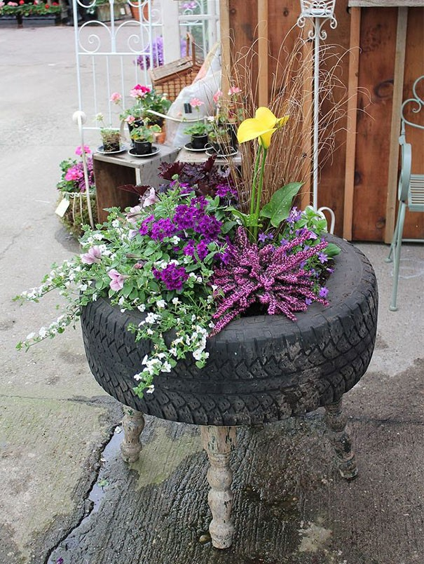 إعادة تدوير الإطارات - حاوية نباتات