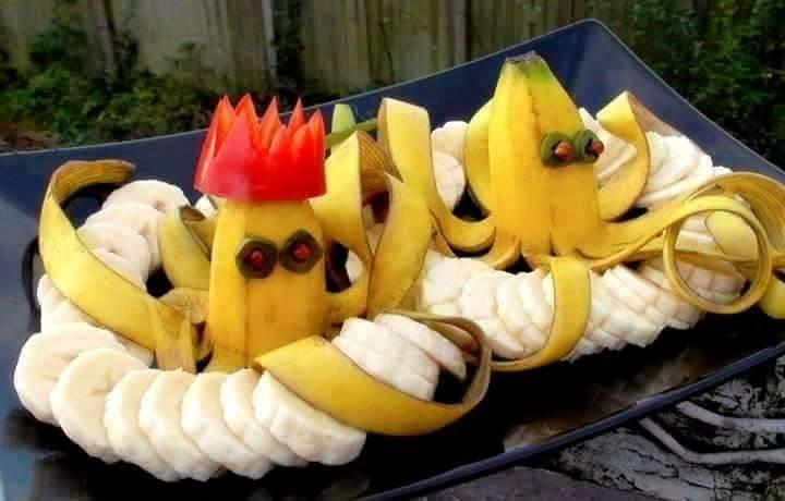 طريقة تقطيع الموز - تقطيع الموز على شكل اخطبوط