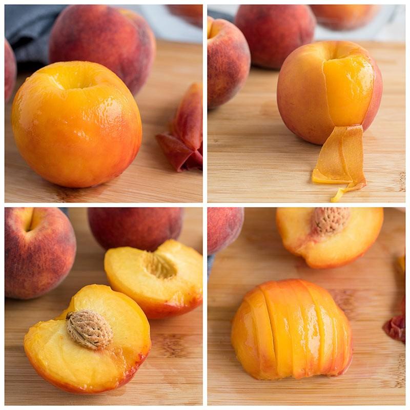 طرق تقطيع الفاكهة لتزيين التورتة - طريقة تقطيع الخوخ 1