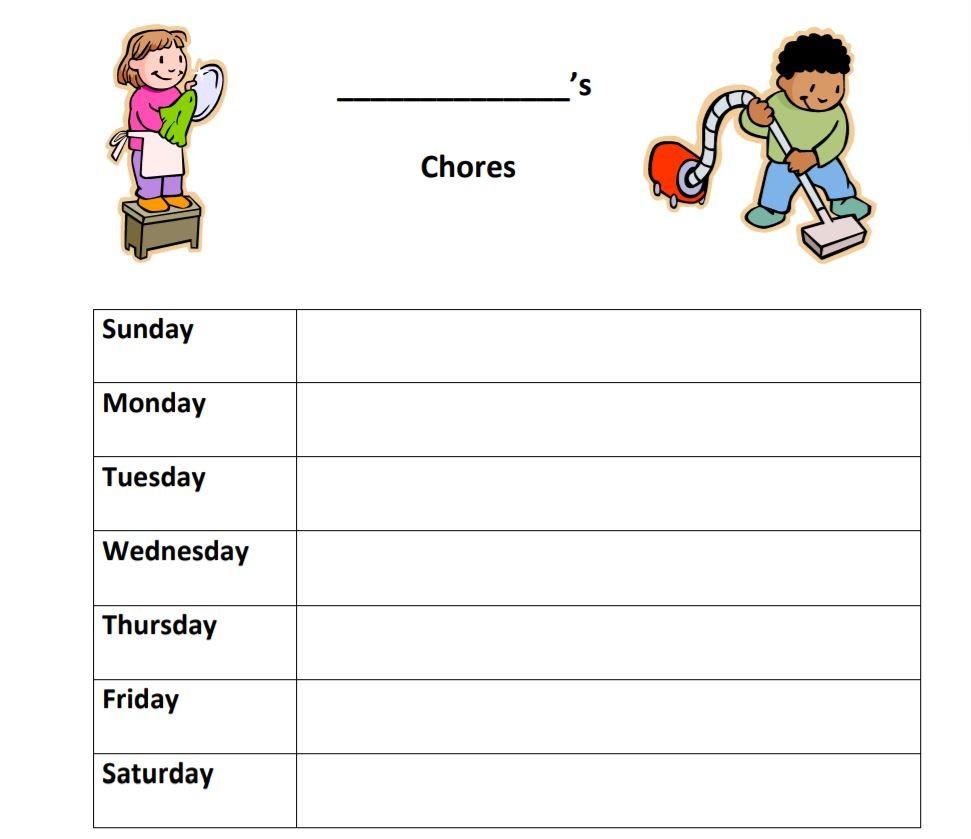 جدول تنظيم الوقت اليومي للأطفال - الأعمال المنزلية
