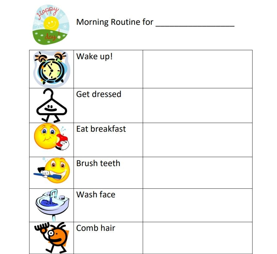 جدول تنظيم الوقت اليومي للأطفال - روتين الصباح