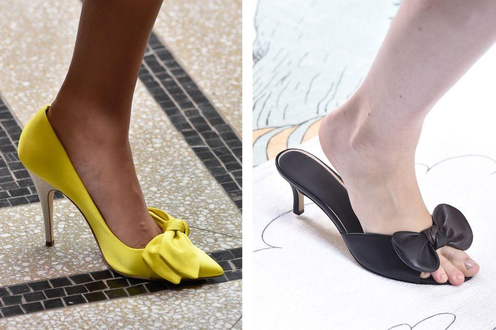 كيفية تنسيق الوان الملابس مع الاحذية - الأحذية المزينة بفيونكة