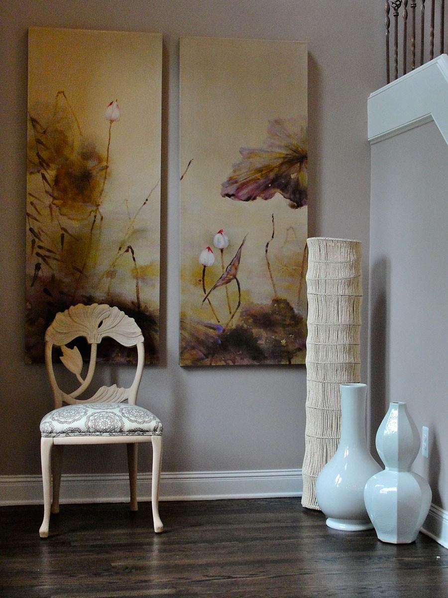 بالصور ديكور مدخل المنزل باللون البني-كرسي بالمدخل