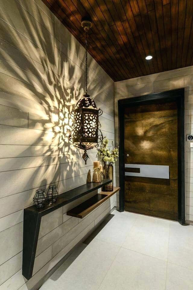 بالصور ديكور مدخل المنزل باللون البني-إضاءة