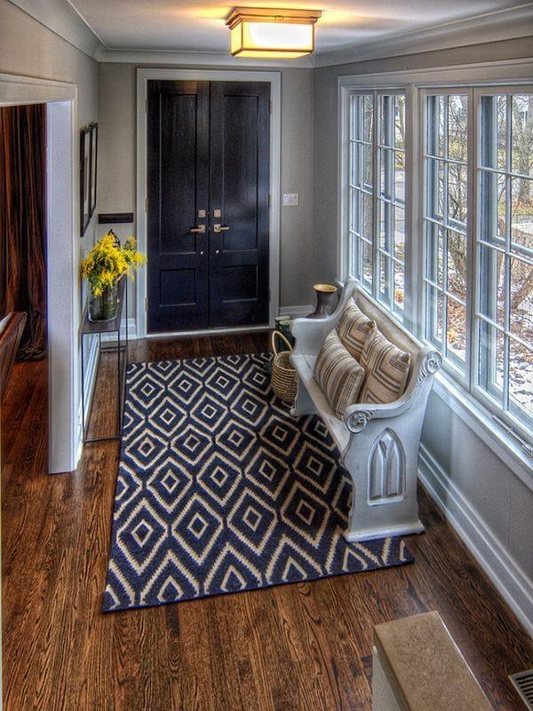 بالصور ديكور مدخل المنزل باللون البني- سجادة المدخل