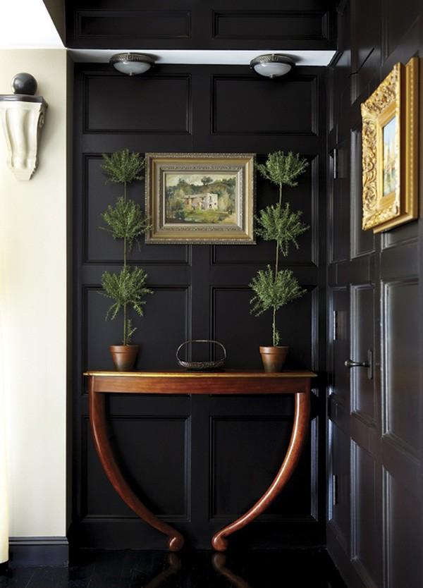 بالصور ديكور مدخل المنزل باللون البني-اللون الأسود والكونسول