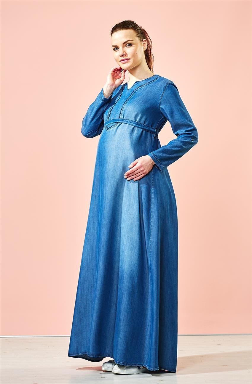 طرق اخفاء بطن الحامل بالملابس-الفستان الجينز