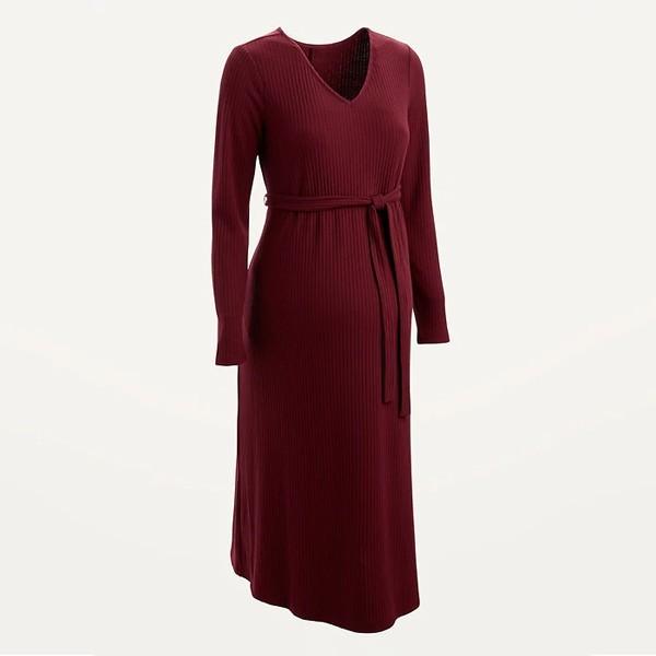طرق اخفاء بطن الحامل بالملابس-الفستان القصير بقصة متداخلة
