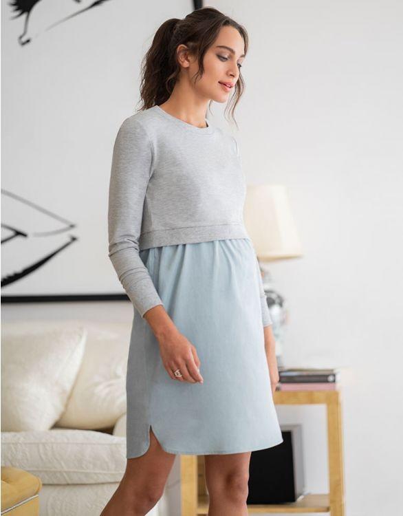 طرق اخفاء بطن الحامل بالملابس-فستان قصير بلونين