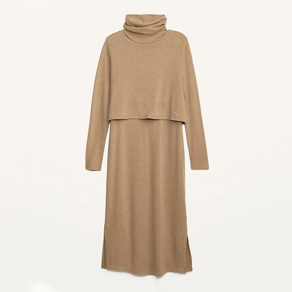 طرق اخفاء بطن الحامل بالملابس-فستان قصير بقماش متمدد