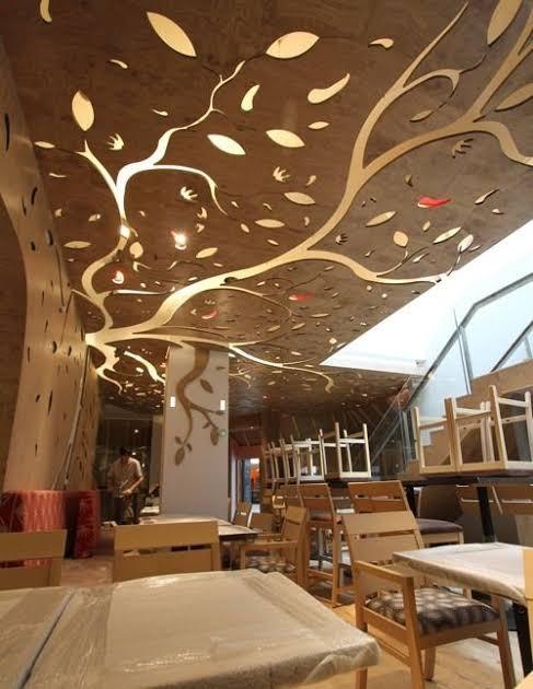 ديكورات-سقف-معلق-خشب-سقف-خشبي-يشبه-الشجر